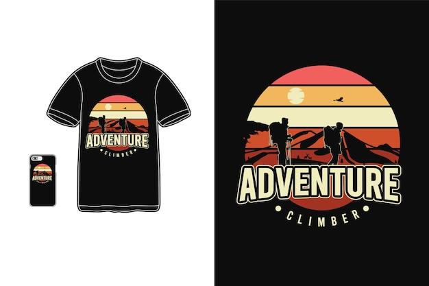 Siluetta della merce della maglietta dello scalatore di avventura