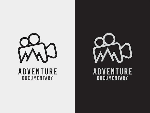 Concetto di design del logo del documentario di avventura