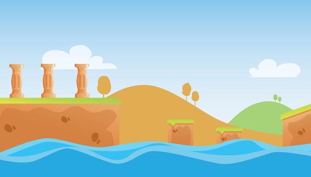 Illustrazione del gioco di avventura sullo sfondo della natura premium