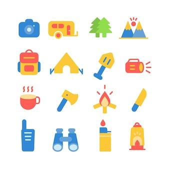 Icona di avventura imposta logo design illustrazione