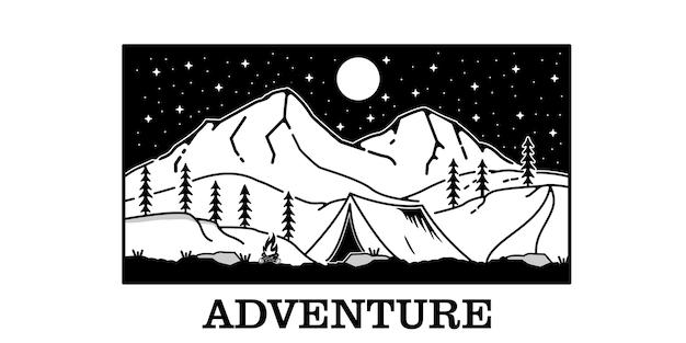 Illustrazione di avventura minimalista nero bianco