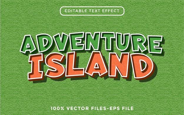 Adventure island - effetto di testo modificabile con illustrator vettore premium