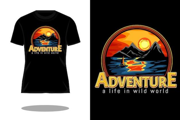 Vita avventurosa nel design della maglietta con disegno a mano del mondo selvaggio