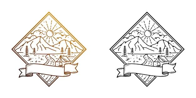Distintivo monolinea con design logo avventura