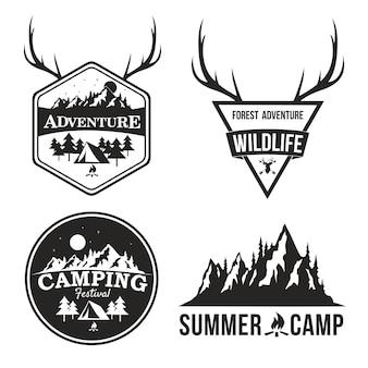 Avventura logo design summer camp mountain explorer badge vector design set collection