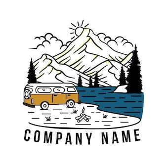 Logo di avventura con stile art line