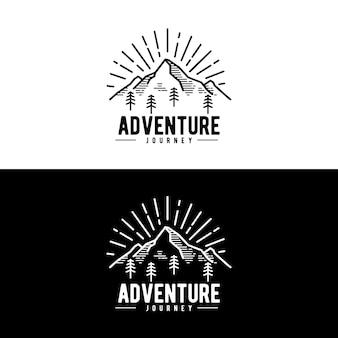 Concetto di design del logo di avventura in montagna jorney