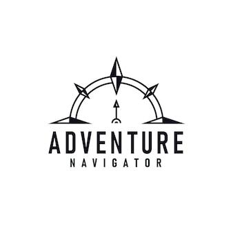 Modello di logo del navigatore di avventura con l'illustrazione di vettore della freccia della bussola
