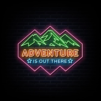 Simbolo dell'insegna al neon del logo al neon di avventura