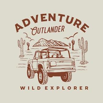 Illustrazione grafica di avventura outlander