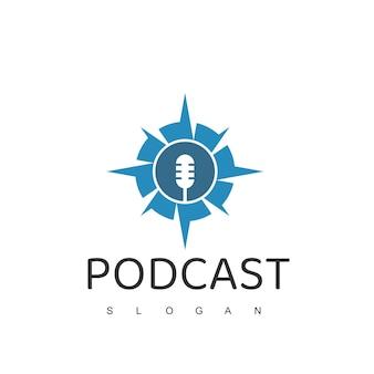 Modello di progettazione del logo del podcast di avventura