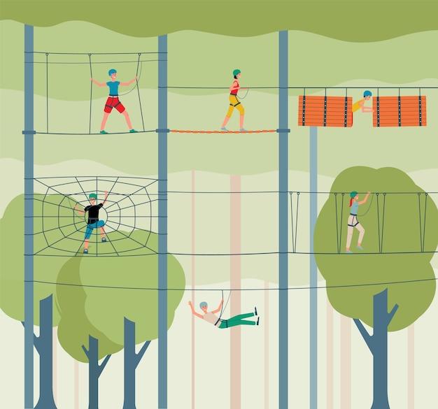 Priorità bassa del parco avventura avventura con personaggi dei cartoni animati di persone arrampicata scale di corda, illustrazione. intrattenimento sportivo e concetto di attività estrema.