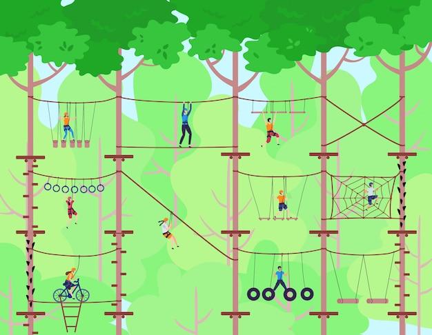 Parco avventura con corda. i bambini hanno attività sportiva nel parco giochi d'avventura. bambini avventurosi che salgono la scala.