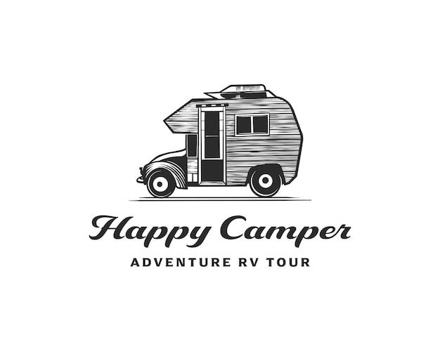 Modello di design del logo per il noleggio e il tour di camper e camper di avventura rv