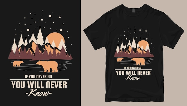 Design t-shirt avventura. slogan di design per magliette da esterno.