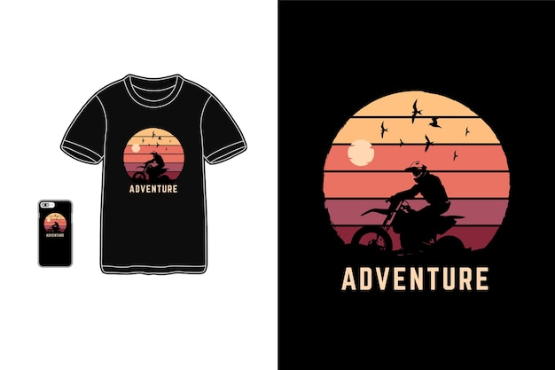 Avventura, tipografia siluet merce t-shirt