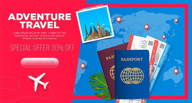 Banner di viaggi avventura. viaggio di lavoro. passaporto con biglietti. illustrazione di viaggio d'affari.