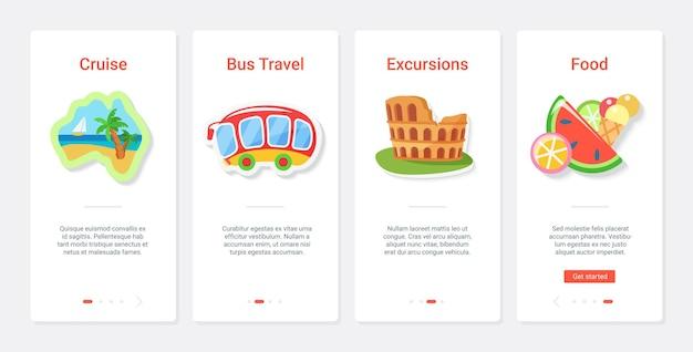 Crociera di viaggi avventura, escursione e illustrazione di cibo.