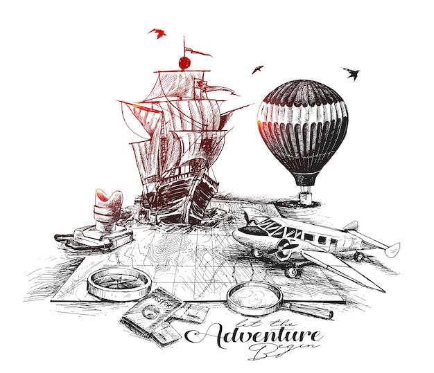 Illustrazione vettoriale di schizzo disegnato a mano di viaggio di avventura
