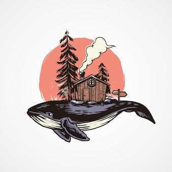 Illustrazione di balena di avventura