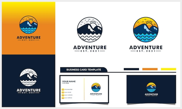 Avventura con il concetto di design del logo di montagna e sole e modello di biglietto da visita