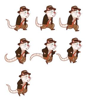 Adventurer rat cartoon game sprite personaggio