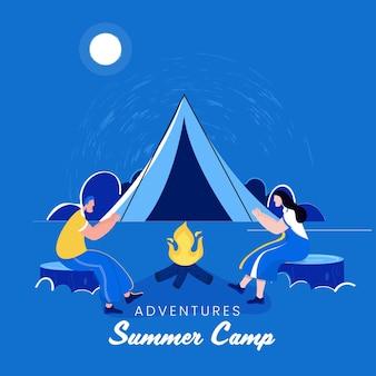 Avventure summer camp poster design con coppia di cartoni animati davanti al falò e tenda da campeggio su sfondo blu luna piena.