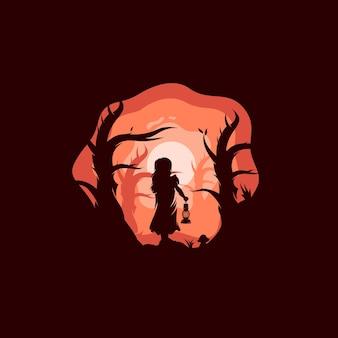 Una ragazza avventurosa che porta il logo di una lanterna