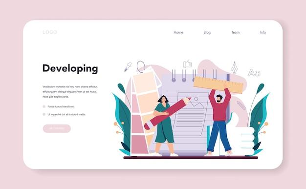 Banner web o pagina di destinazione per designer di annunci o illustratore