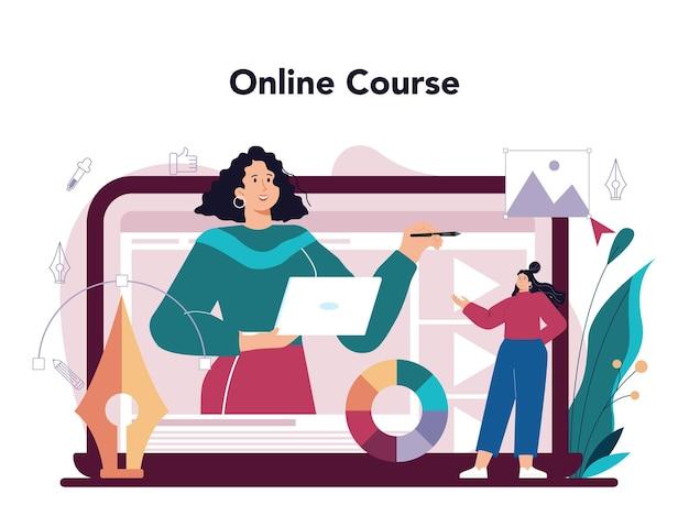 Servizio online di designer di annunci o artista della piattaforma che crea un annuncio pubblicitario