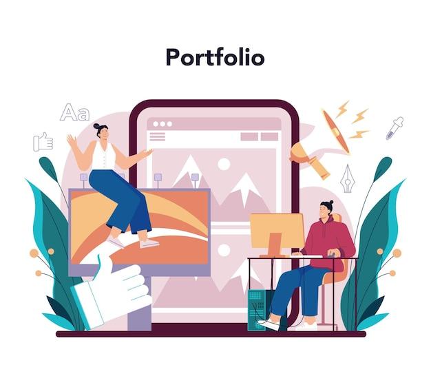 Servizio o piattaforma online per la progettazione di annunci pubblicitari. artista che crea una pubblicità