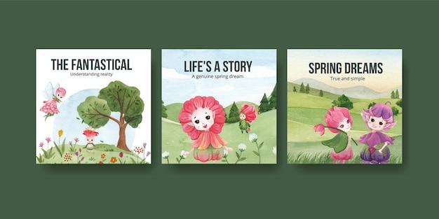 Pubblicizza il modello con l'illustrazione dell'acquerello di concetto di carattere floreale