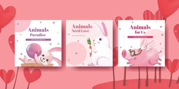 Pubblicizza il modello con l'illustrazione dell'acquerello di concetto di animali felici