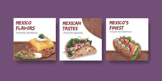 Pubblicizza il modello con l'illustrazione dell'acquerello di concetto di cucina messicana