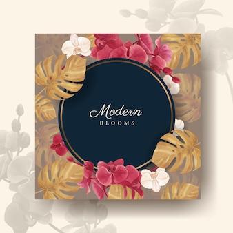 Pubblicizza il modello con l'acquerello floreale della pampa