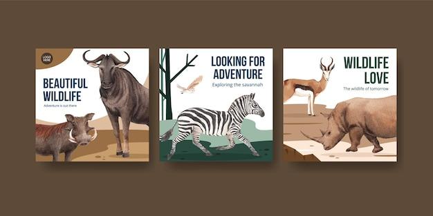 Pubblicizza il modello con l'illustrazione dell'acquerello di concetto della fauna selvatica della savana