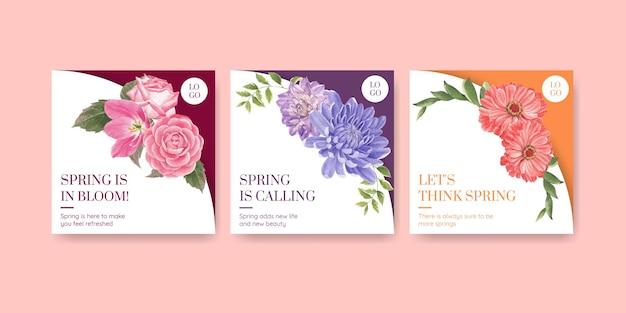 Pubblicizza il modello con l'illustrazione dell'acquerello di concetto luminoso di primavera