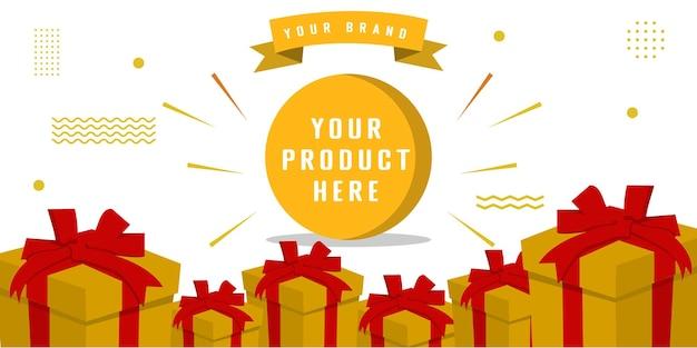 Banner di promozione pubblicitaria con molti regali per il tuo marchio o attività
