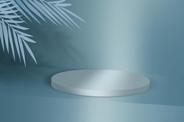 Sfondo pubblicitario con podio vuoto per dimostrazione del prodotto. piedistallo con foglie tropicali.