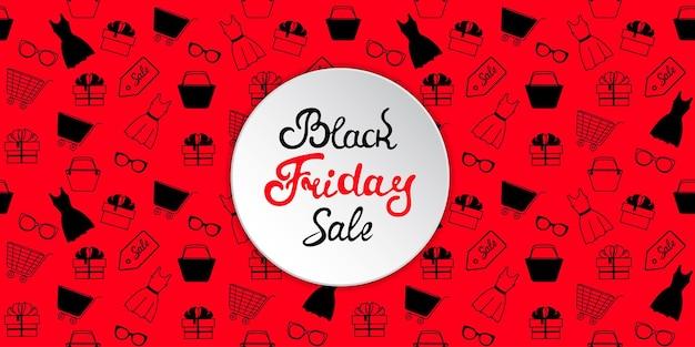 Banner pubblicitario per la vendita del black friday con abbigliamento donna e accessori per lo shopping.