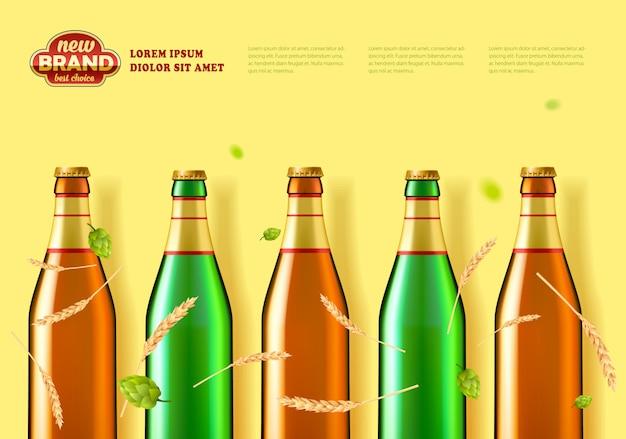 Banner pubblicitario per prodotti del birrificio. bottiglie, coni di luppolo e spighe di grano.
