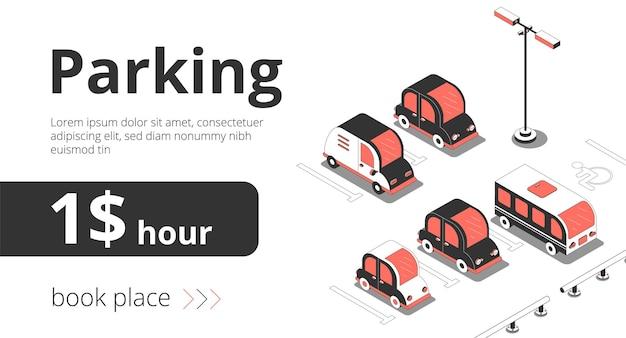 Banner pubblicitario auto isometrica con vista di parcheggi con auto e testo con prezzo