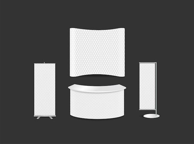 Progettazione di stand fieristici pubblicitari con sfondo astratto bianco esagonale, esagoni 3d texture stile identità aziendale, illustrazione vettoriale