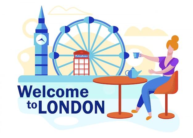 Volantino pubblicitario benvenuto a london lettering.