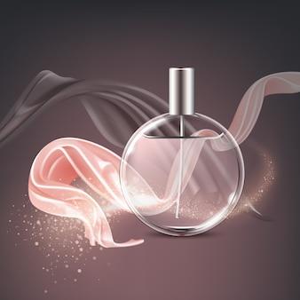 Illustrazione pubblicitaria di annunci cosmetici flacone di profumo traslucido