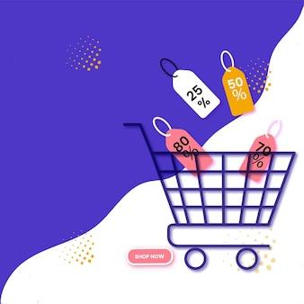 Design del manifesto pubblicitario con carrello della spesa, diversi tag di sconto su sfondo viola e bianco in vendita.
