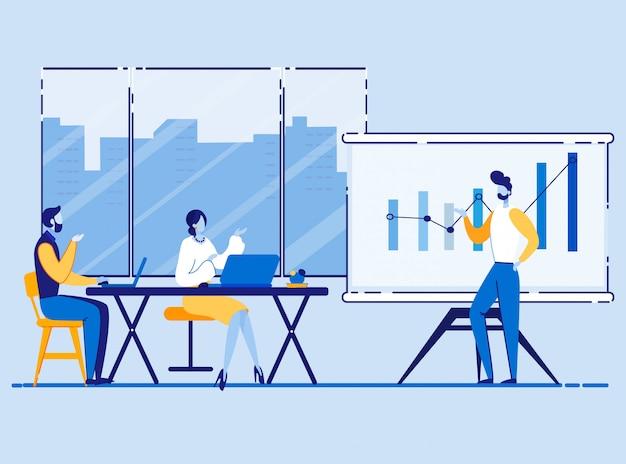 Cartone animato di riunione marketing marketing poster.