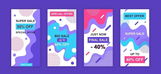 Modello di storie instagram di social network di progettazione di vendita di pubblicità