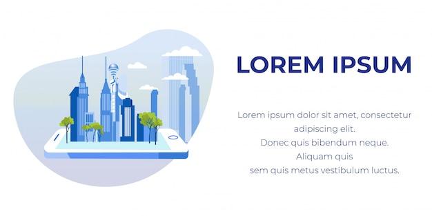 Insegna del testo di pubblicità con la città moderna sul telefono