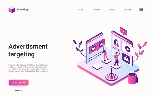 Design isometrico della pagina di destinazione della strategia di pubblicità, marketing digitale e remarketing